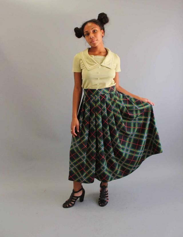 "a4aafacdf4 womens vintage black and green plaid maxi skirt, flowy rayon . 29"""