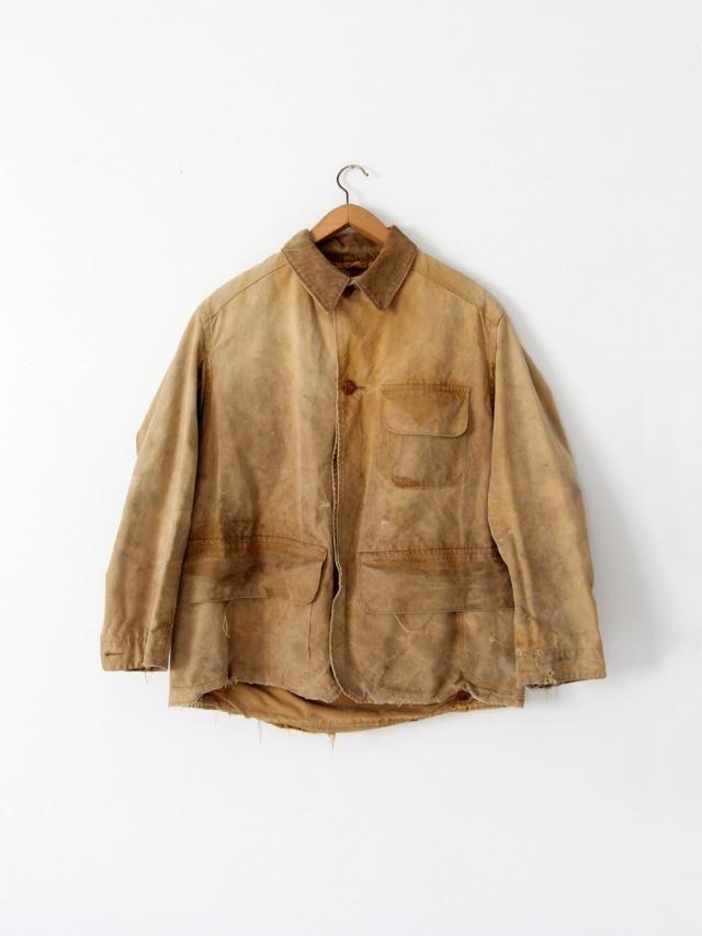 609a16a7609a8 vintage 30s Duxbak field coat, men&;s canvas hunting jacket, canvas duck