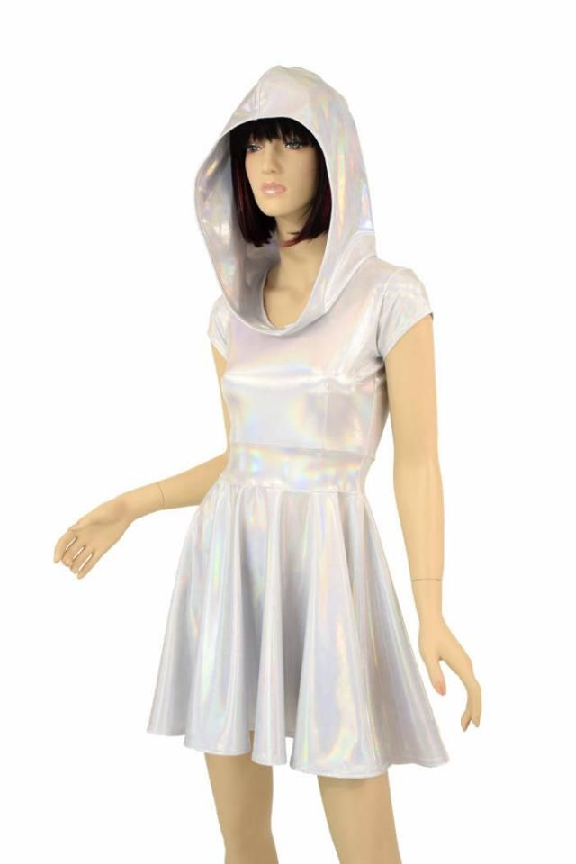 f2e4c24e2d3 Hooded Silvery White Flashbulb Holographic Cap Sleeve Fit and Flare Hoodie Skater  Skate Dress w