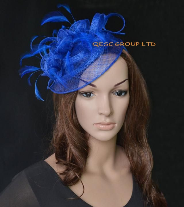701321b2c49 Royal blue fascinator Sinamay feather hat fascinator for Kentucky derby  wedding party melbourne cup ascot races