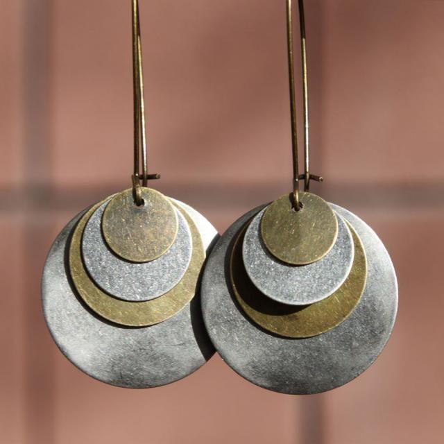 Vintage Boho Bohemian Small Antique-Brass Charm Brown Clear Bead Hook Earrings