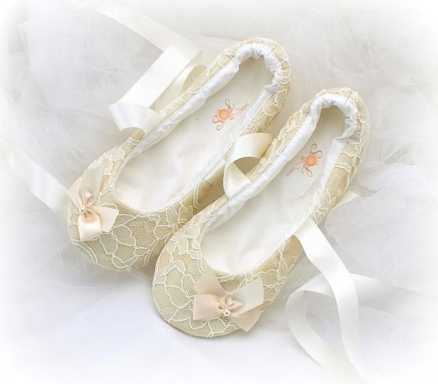 13bce7af9 Wedding Ballet Flats Shoes Lace Champagne Gold with Bows and Ivory Satin  Ribbon Ties