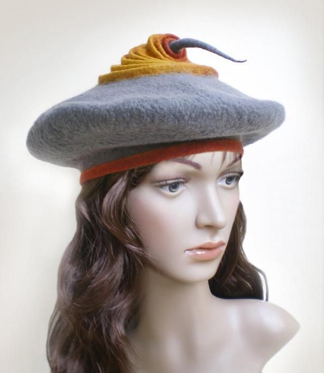 e24a6f21f22 Ladies Winter Hat Beret Gray Orange Saffron Hand Felted French Beret
