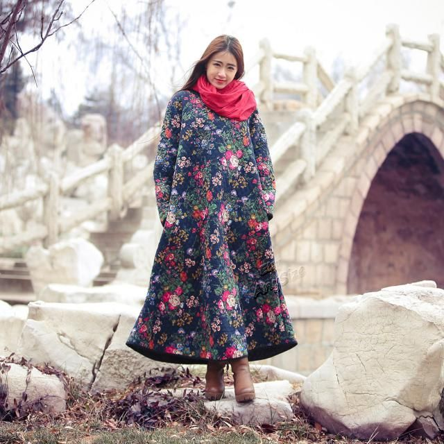 bd5f14880b Anysize linen amp cotton dress floral dress Padded Winter dress Winter  clothing Maxi dress plus size