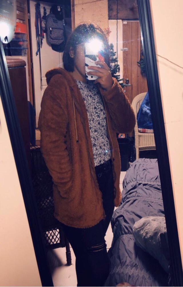 Furry fleece zip up hoodie! True to size!