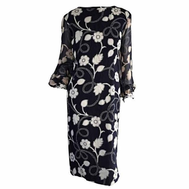 74c675a42dcc Pauline Trigere Dress 1960s Vintage Mod Balloon Sleeve Flower Dress ~ Retro  Black & White