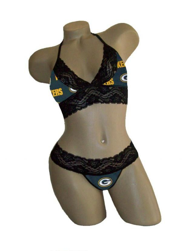 cfee924d289 Sexy Green Bay Packers NFL Lingerie Black Lace Cami Bralette Style Tie-Top  and Matching