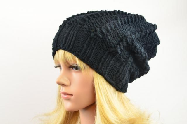 fb79bb8d487a52 black beanie knit hat women slouchhat wool knitted winter hat slouchy beanie  black handmade gift for