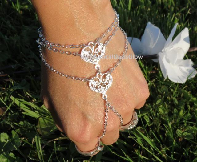 fb3676df86 Silver Heart Hand chain, bracelet ring, wedding jewelry, chain wedding  gloves, bridal