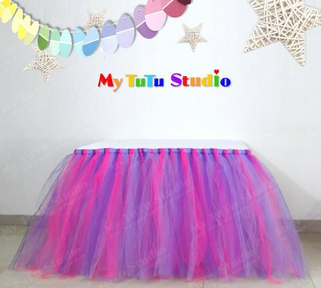 7a5f74c4c0 Pink Orchid Mixture Tulle Table TuTu Skirt for Birthday Party, Baby Shower,  Princess Party