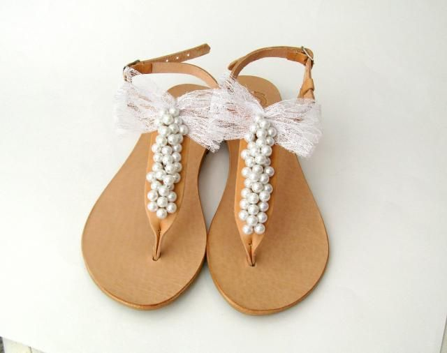 d9eab8e447015 Wedding sandals  Pearls sandals with lace bow  Bridal sandals  Bridesmaids  sandals  Summer