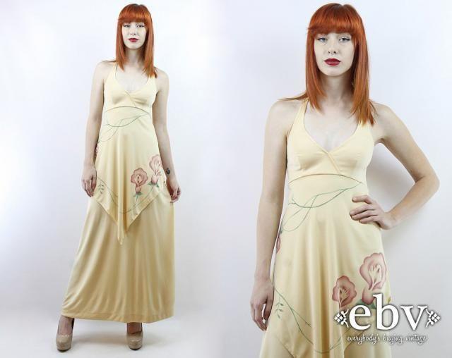 74b6706ff60 Vintage 70s Buttercream Floral Maxi Dress XS S Hippie Dress Hippy Dress  Boho Dress Floral Dress