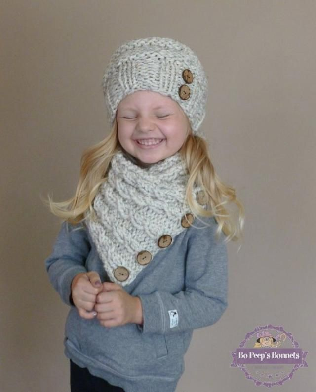 43a0e0e0ef4779 Hand Knit Toddler Slouchy Beehive Hat and Cabled Neckwarmer Set in Neutral  Wheat or YOUR COLOR