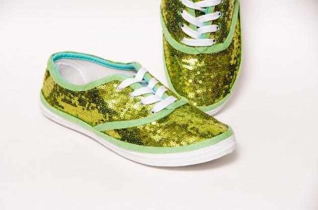 d562cf6c6d7f46 Tiny Sequin - CVO Starlight Lime Green Canvas Sneaker Tennis Plimsoll Shoes