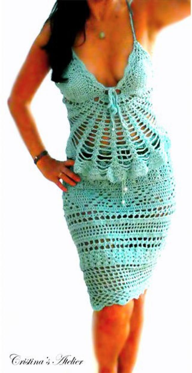 bf4fa6f7476f0 Aqua crochet corset skirt -Sexy stretch crochet skirt- Blue slit crochet  skirt- Festival