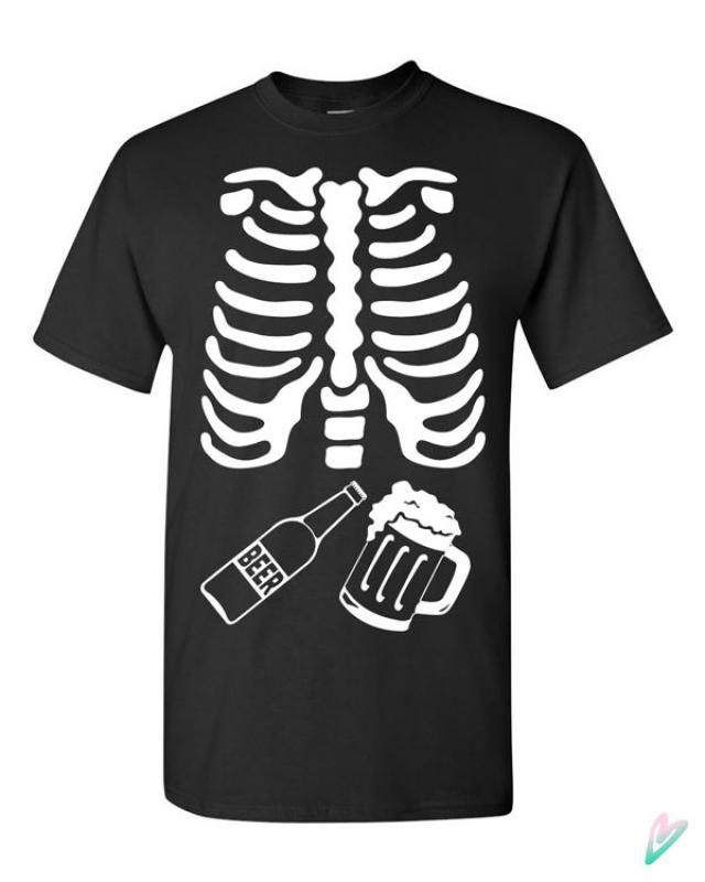 8a87cbb208245 Skeleton Beer Ribcage Halloween T-shirt Tshirt Tee Shirt Gift Father Pregnancy  Xray Mug Bottle