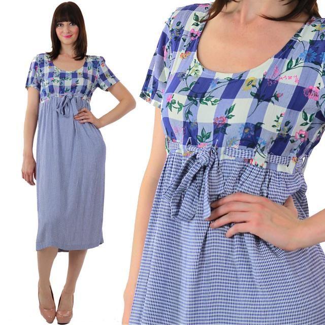 4afe51092ad8 Blue plaid dress vintage 80s high waist midi 1980s navy blue gingham floral  color block short