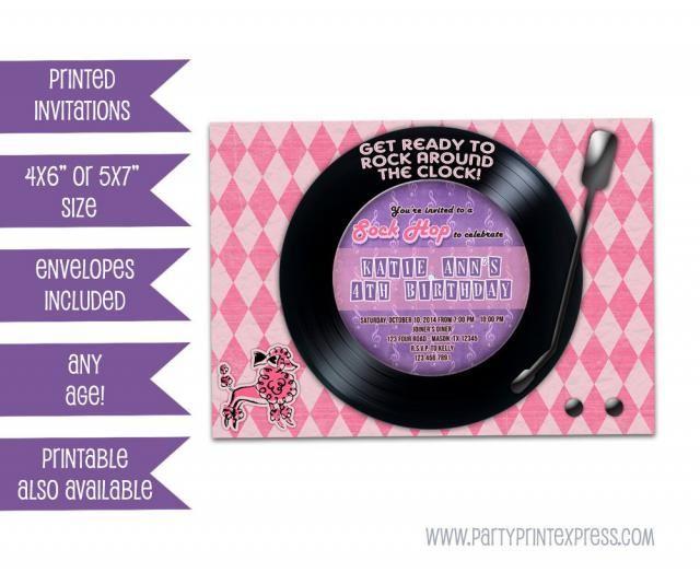 4b29c8289c4ee Poodle Skirt Birthday Invitation - Retro Sock Hop Record Invitations -  vintage Birthday Party - Vinyl