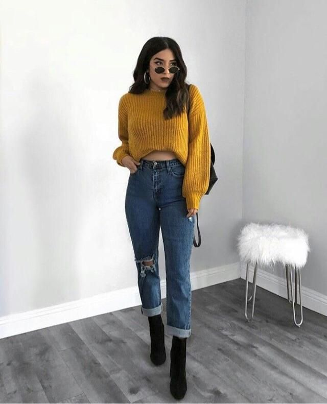 Mustard color is one of my faves and this mustard sweater is made it by heaven bc it's so beautiful, you can also get t…