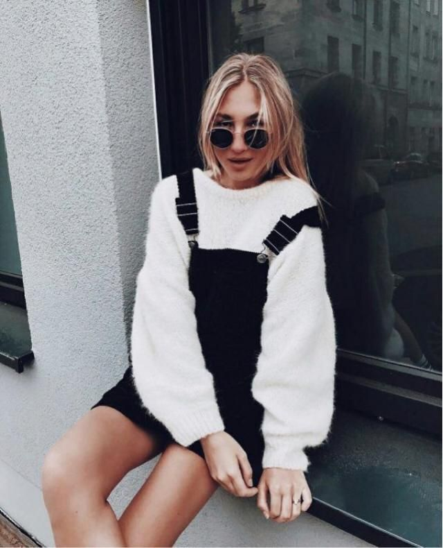 Cute and basic outfit for this winter, a white sweater and a black dress overall | | | ❤️❤️❤️❤️❤️      …