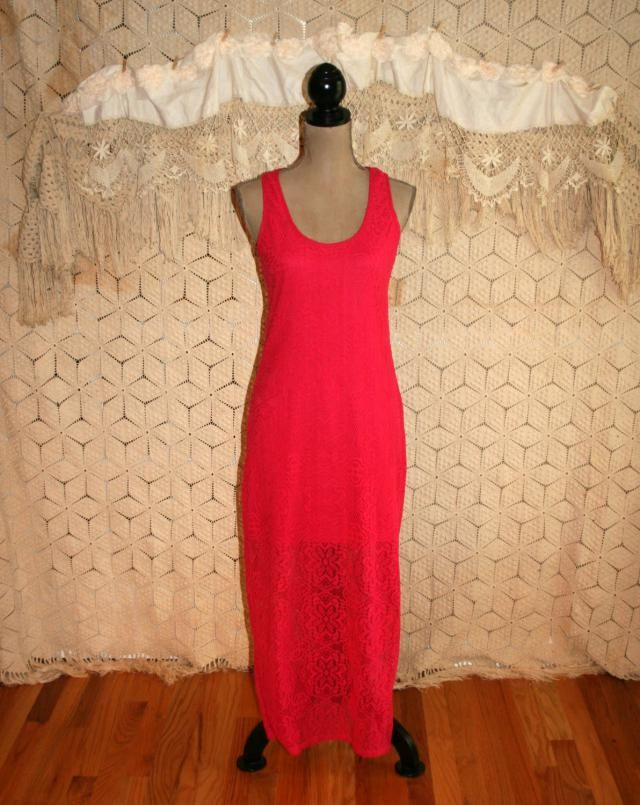 c14620f41f43 Lace Maxi Dress Women Small Summer Dress Long Hippie Boho Hot Pink Lace  Dress Racerback Beach