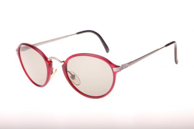 aa7127ebbb Christian Dior vintage 80s NOS matte red and gunmetal round - pantos  sunglasses