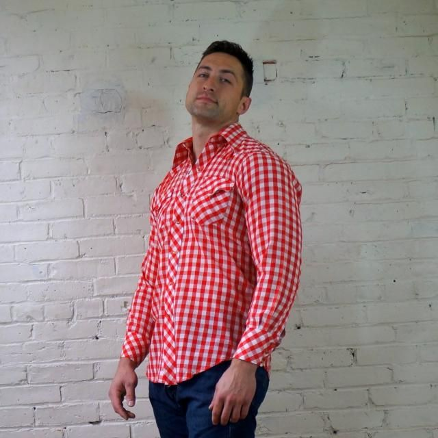 2ac58e938a55fa Western Shirt 1960s Retro Pearl Snap Shirt Gingham Red White Check Cotton  Mens 15.5 34 Vintage