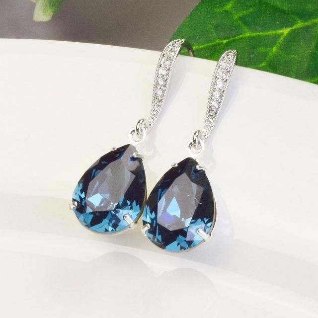 80b05ec73 Navy Blue Earrings Bridal Swarovski Crystal Earrings Silver Bridesmaid  Earrings Sapphire Wedding Jewelry Navy Earrings …