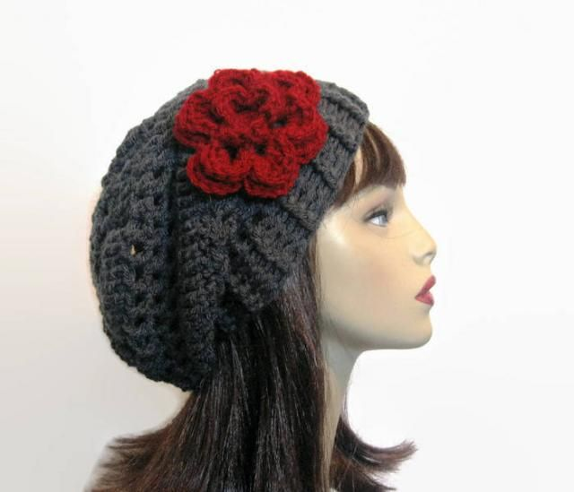 8609f8ff41779b Crochet Slouchy Hat with Flower Charcoal Slouch Hat Gray Slouchy Beanie  Dark Gray Cap Adult Cap