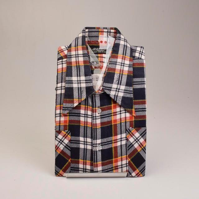 Large 1970s Mens Shirt Deadstock Cotton Flannel Shirt Tartan Plaid 100%  Cotton Long Sleeve Button 1fdc562f3