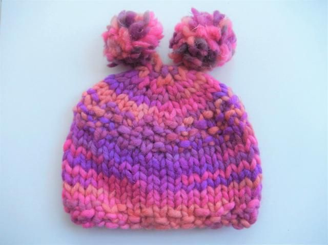 hand knitted baby hat with 2 pom poms   soft baby cap   baby hat pink 0176fed60f5