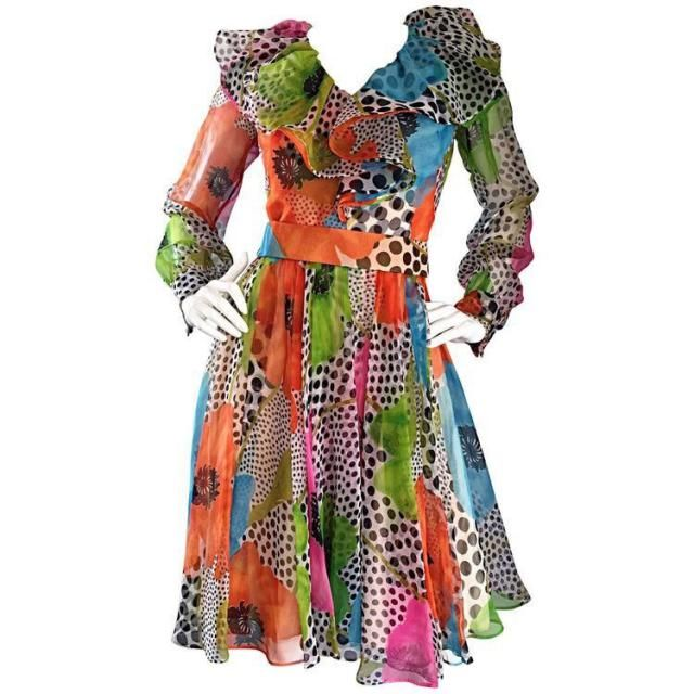 4aae40495ac Neon Vintage Jack Bryan Flower  amp  Polka Dot Ruffle Dress   Psychedelic  Colorful Vintage Boho