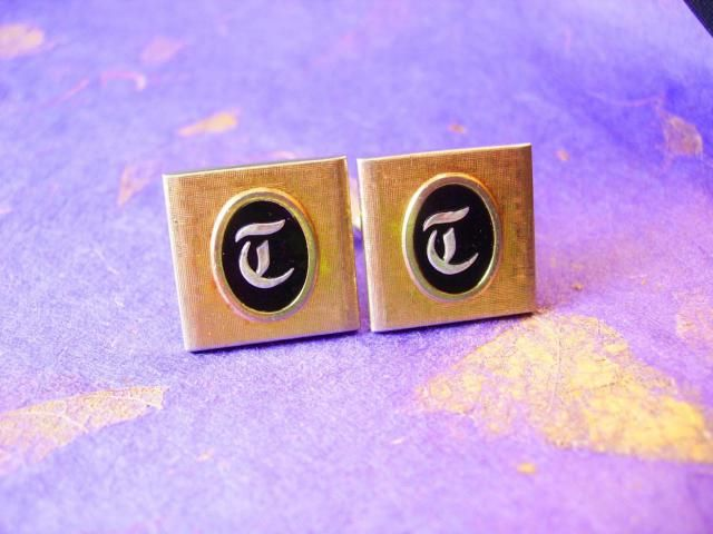 monogrammed t cufflinks vintage initial letter wedding gift groom father of the bride cuff links designer