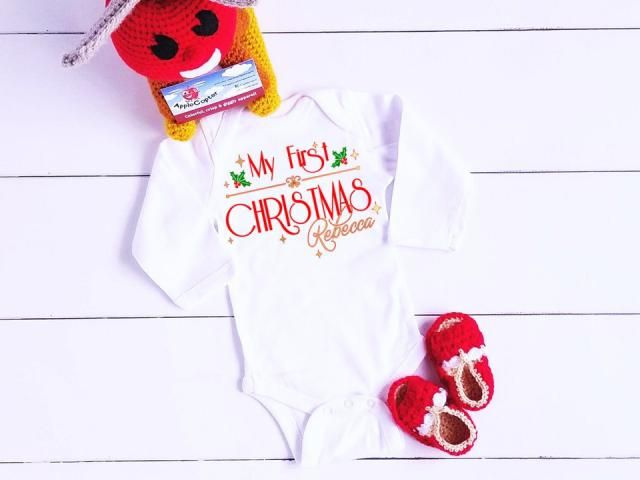 fea804437 My First Christmas Girl, Baby&;s 1st Christmas Shirt, PERSONALIZED Baby  Girl