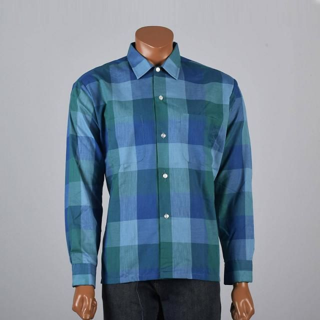 NOS Deadstock Mens Vintage 50s 100% Cotton Fruit of the Loom Blue Green  Shadow Plaid 80fe1649b