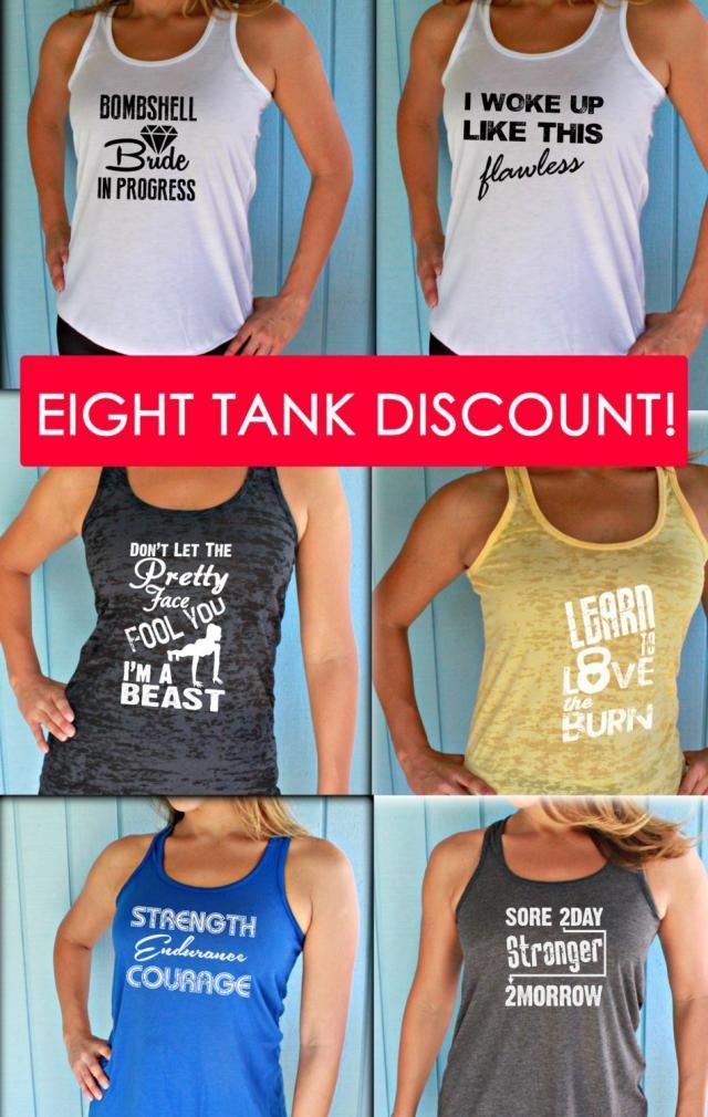 9f0ba1cbf8790e Eight Tank Discount. Burnout or Flowy Workout Tank Tops. Custom Design Shirt.  Running