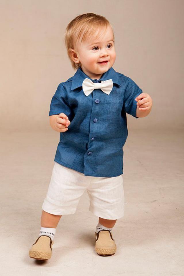 9efeaa2c0 Ring bearer outfits 1st birthday boy suit ivory linen shorts blue linen  shirt Beach wedding boy