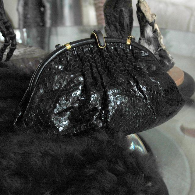 50b6da6ee5fd70 Vintage Gucci Black Python Purse, Cross-Body Evening Clutch, Gold Hardware,  Black