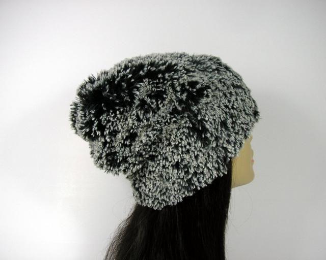 8da6e2d758d Faux Fur Hat Fur Beanie Black and White Faux Fur Slouch Hat Warm Hats  Womens Hats