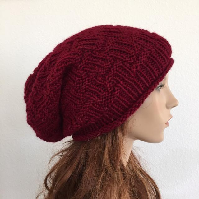 3f733eca626 Hand knit woman winter slouchy hat wool hat burgundy wine beret-ready to  ship