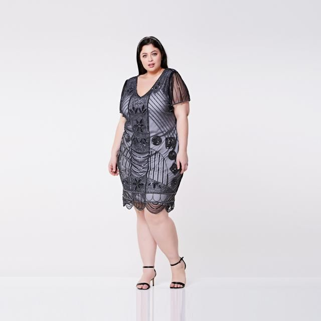 0aee2fdb297 US24 UK28 AUS28 EU56 Daisy Black silver Plus size Flapper Dress with  Sleeves 1920s inspired Great
