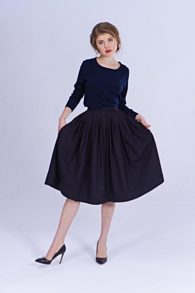 f345163ea85 50s Pleated Skirt 1950s skirt 50s Wool Skirt Black Pleated Skirt Mad Men  Skirt Handmade Skirt