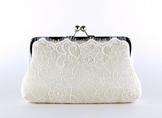 7e3153542a Champagne Lace Bridal Clutch, Silk Clutch, Bridesmaid Gift, Wedding clutch