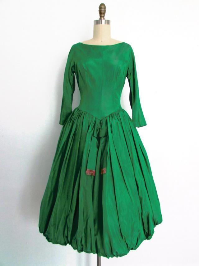 9926c7dc01 1950s 1960s emerald green taffeta bubble hem full skirt party dress