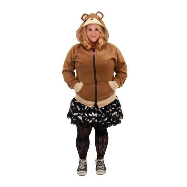 b68e8fff0d2 Pawstar TEDDY BEAR HOODIE - Jacket costume cosplay lain brown Brown Dark  Light Tan Cosplay pajamas