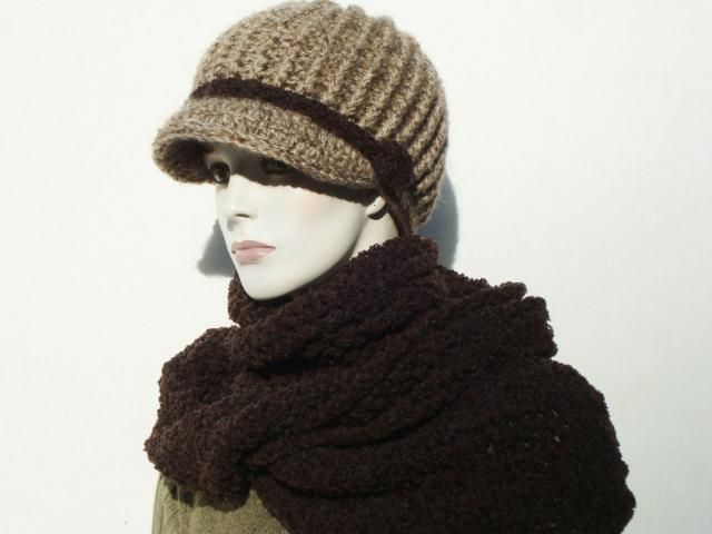 ca434f5b2b1 Womens Newsboy Hats-Hooded Scarf-Newsboy Hats-Knitted Newsboy Hat-Chunky  Knit