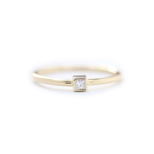 e3dddd827cee81 Princess Cut Diamond Bezel Engagement Ring In 14k Solid Gold,Thin Band  Dainty Simple Engagement