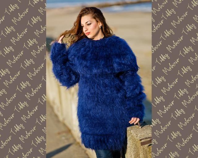 3e83a5c114b Blue Mohair Dress, Cowl Neck Sweater, Hand Knit Dress, Fluffy Pullover, Maxi