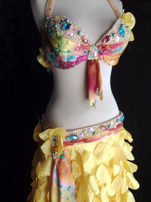 5d4dd9ab5873 Satin Sash Professional Belly Dance. Costume Custom New Petals and Satin  Print