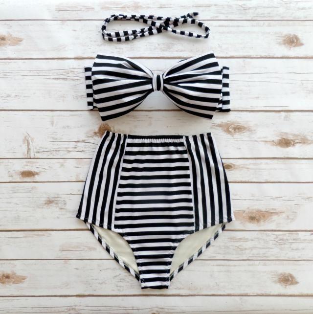 3ae931e0c0d Bikini Bow Bandeau Vintage Style High Waisted Retro Pin-up 2 Piece Bathing  Suit Swimwear